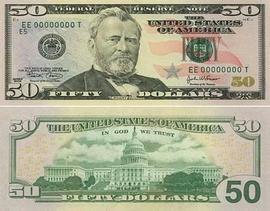 დოლარის ბანკნოტები - 50 დოლარი