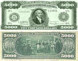 დოლარის ბანკნოტები - 5000 დოლარი
