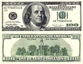 დოლარის ბანკნოტები - 100 დოლარი