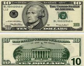 დოლარის ბანკნოტები - 10 დოლარი