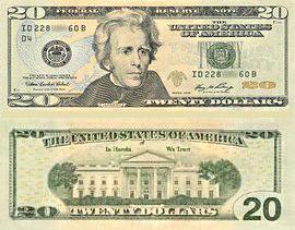 დოლარის ბანკნოტები - 20 დოლარი