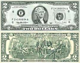 დოლარის ბანკნოტები - 2 დოლარი