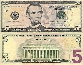 დოლარის ბანკნოტები - 5 დოლარი
