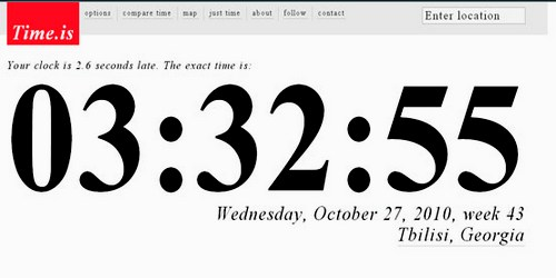 ზუსტი დრო მსოფლიოს ნებისმიერ ქალაქში - Time.is
