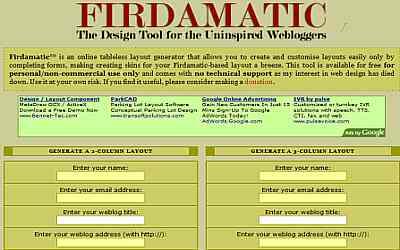 საიტის შაბლონების გენერატორები - Firdamatic