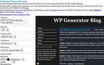 საიტის შაბლონების გენერატორები - Wordpress Theme Generator