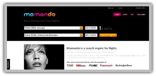 ავიარეისებისა და ბილეთის ფასების ონლაინ სერვისები - Momondo